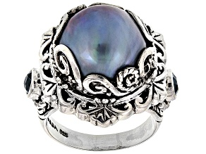Pre-Owned Pearl Mabe Silver Ring .46ctw