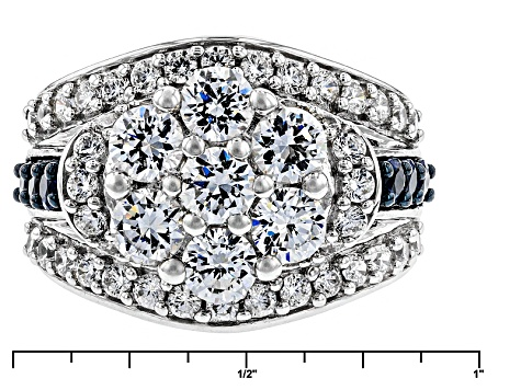 Pre-Owned White Cubic Zirconia And Synthetic Blue Sapphire Silver Ring 5.52ctw