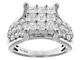 Pre-Owned White Cubic Zirconia Rhodium Over Sterling Silver Ring 4.45ctw