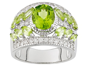 Pre-Owned Green Peridot Sterling Silver Ring 3.96ctw