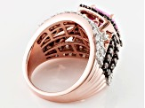 Pre-Owned Pink, Brown And White Cubic Zirconia 18k Rose Gold Over Silver Ring 8.71ctw (4.53ctw DEW)