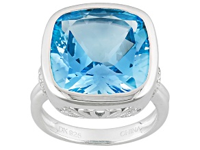 Pre-Owned Sky Blue Topaz Sterling Silver Ring 12.90ctw