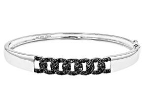 Pre-Owned Black Spinel Sterling Silver Bangle Bracelet. 1.40ctw