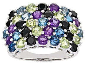 Pre-Owned Multi-color gemstone rhodium over sterling silver ring 4.00ctw
