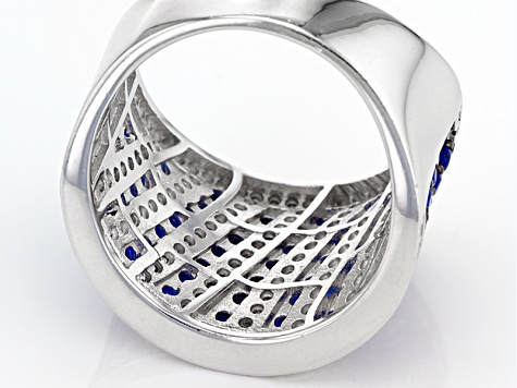 Pre-Owned Blue Created Spinel And White Cubic Zirconia Rhodium Over Sterling Silver Ring 2.60ctw