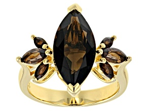 Pre-Owned Brown smoky quartz 18k yellow gold over sterling silver ring 3.80ctw