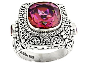 Pre-Owned Extreme Pink™ Mystic Quartz® Silver Ring 4.66ctw