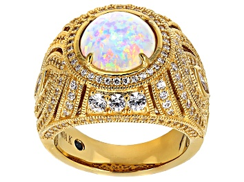 Picture of Pre-Owned White Synthetic Opal And White Cubic Zirconia 18k Yellow Gold Over Silver Ring 4.13ctw