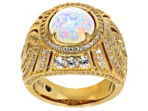 Pre-Owned White Synthetic Opal And White Cubic Zirconia 18k Yellow Gold Over Silver Ring 4.13ctw