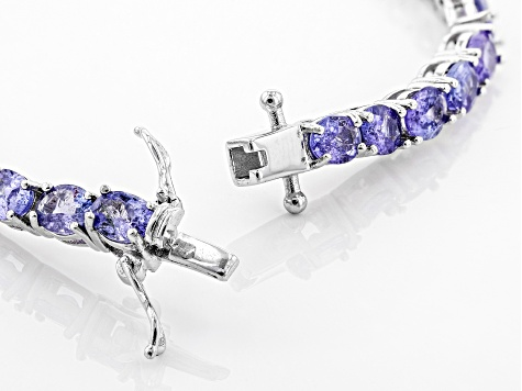 Pre-Owned Blue tanzanite rhodium over sterling silver line bracelet 9.82ctw