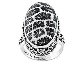 Pre-Owned Black Indonesian Coral Sterling Silver Ring