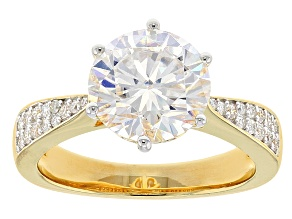 Pre-Owned Moissanite 14k Yellow Gold Over Silver Ring 3.36ctw DEW