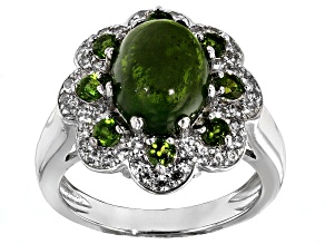 Pre-Owned Green Russian Chrome Diopside Sterling Silver Ring .81ctw