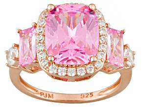 Pre-Owned Pink And White Cubic Zirconia 18k Rose Gold Over Silver Ring 5.75ctw (5.21ctw DEW)