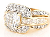 Pre-Owned Moissanite 14k Yellow Gold Over Silver Ring 4.04ctw DEW