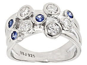 Pre-Owned Moissanite and Blue Sapphire Ring .68ctw Dew