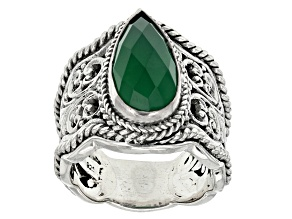 Pre-Owned Green Onyx Silver Solitaire Ring