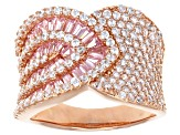 Pre-Owned White And Pink Cubic Zirconia 18k Rg Over Sterling Silver Ring 4.02ctw