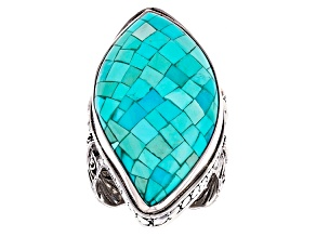 Pre-Owned Blue Mosaic Turquoise Silver Ring