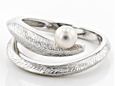 Pre-Owned 6-6.5mm Cultured Freshwater Pearl, Rhodium Over Sterling Silver Ring