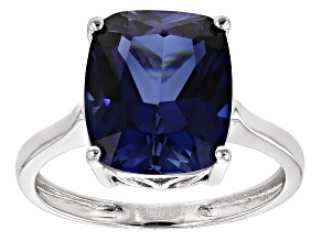 Pre-Owned Blue Lab Created Sapphire Sterling Silver Ring 7.00ct