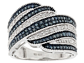 Pre-Owned Blue And White Diamond Rhodium Over Sterling Silver Ring 1.06ctw