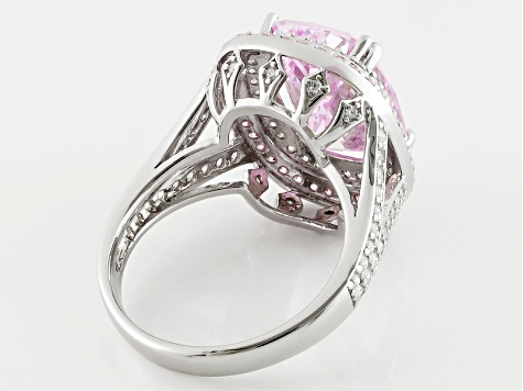 Pre-Owned Pink And White Cubic Zirconia Silver Ring 14.08ctw (9.13ctw DEW)