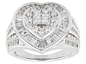 Pre-Owned Cubic Zirconia Rhodium Over Sterling Silver Heart Ring 3.75ctw (2.79ctw DEW)