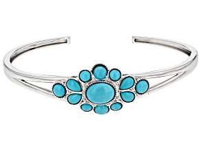 Pre-Owned Blue Sleeping Beauty Turquoise Sterling Silver Bangle Bracelet