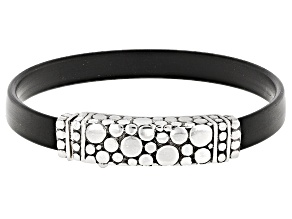 Pre-Owned Sterling Silver And Rubber Bracelet