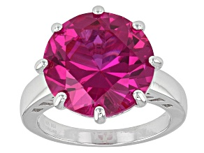 Pre-Owned Pink Lab Created Sapphire Sterling Silver Ring 10.20ct