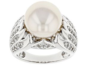 Pre-Owned 11.5-12mm Cultured Freshwater Pearl And White Topaz Rhodium Over Sterling Silver Ring