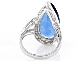 Pre-Owned Blue color change fluorite rhodium over silver ring 14.86ctw