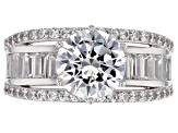 Pre-Owned White Cubic Zirconia Rhodium Over Sterling Silver Ring 8.12ctw
