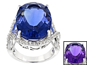 Pre-Owned Blue Color Change Fluorite Rhodium Over Sterling Silver Ring 19.01ctw
