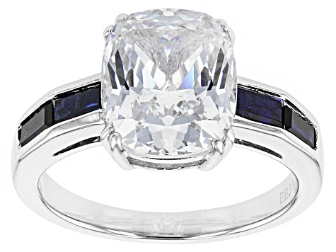 Pre-Owned White Cubic Zirconia And Lab Created Sapphire Silver Ring 7.15ctw