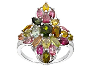 Pre-Owned Multi-color multi-tourmaline rhodium over sterling silver ring 3.27ctw