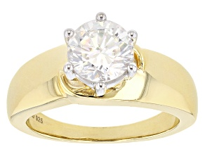 Pre-Owned Moissanite Ring 14k Yellow Gold Over Silver 1.90ct DEW.