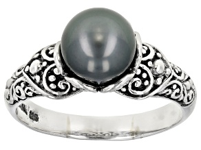 Pre-Owned Black Cultured Saltwater Pearl Sterling Silver Ring