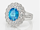 Pre-Owned Blue And White Cubic Zirconia Rhodium Over Silver Ring 4.00ctw