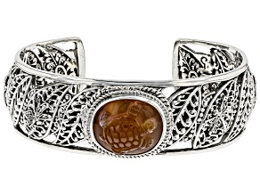 Pre-Owned Orange Carnelian Turtle Sterling Silver Bracelet