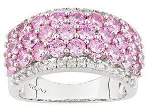 Pre-Owned Pink And White Cubic Zirconia Rhodium Over Silver Ring 6.21ctw