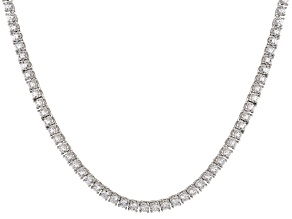 Pre-Owned White Cubic Zirconia Rhodium Over Sterling Silver Necklace 16.94ctw