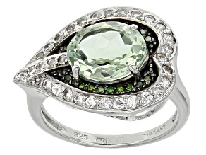 Pre-Owned Green Brazilian Prasiolite Sterling Silver Ring 2.84ctw