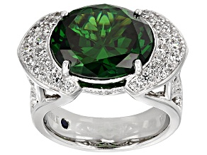 Pre-Owned Green And Blue Cubic Zirconia Platineve Ring  13.47ctw
