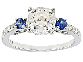 Pre-Owned Moissanite Fire® 1.80ctw DEW And .37ctw Blue Sapphire Platineve™ Ring