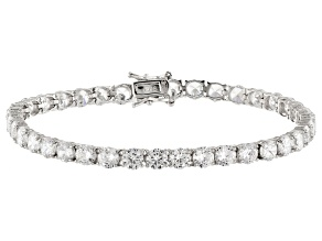 Pre-Owned White Cubic Zirconia Rhodium Over Sterling Silver Bracelet 24.00ctw