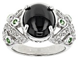 Pre-Owned Black Spinel Sterling Silver Ring 7.80ctw