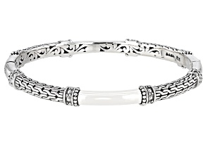 Pre-Owned Oxidized Sterling Silver Filigree Hinged Bangle