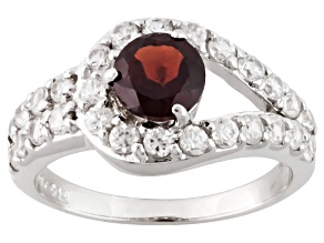 Pre-Owned Red Garnet Sterling Silver Ring. 2.26ctw